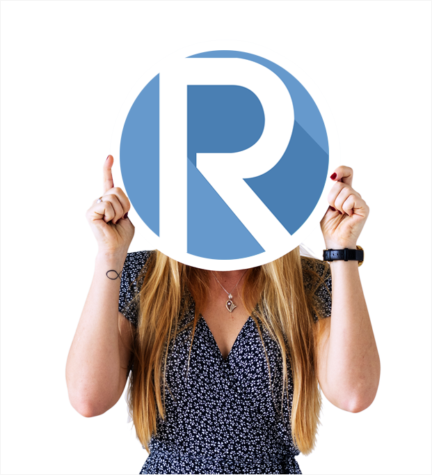 woman holding rose marketing logo