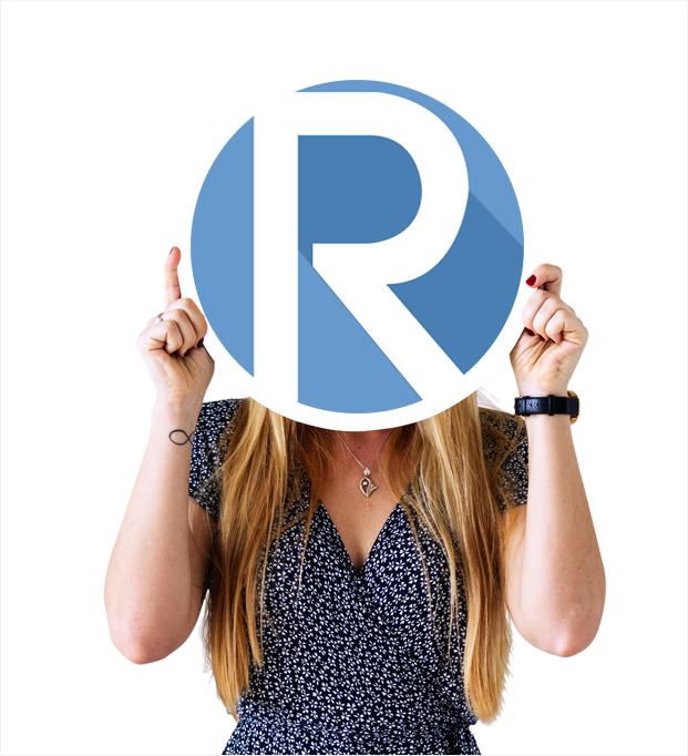 woman holding rose marketing logo